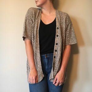 Elisabeth Short Sleeve Button Up Cardigan Grey 2X
